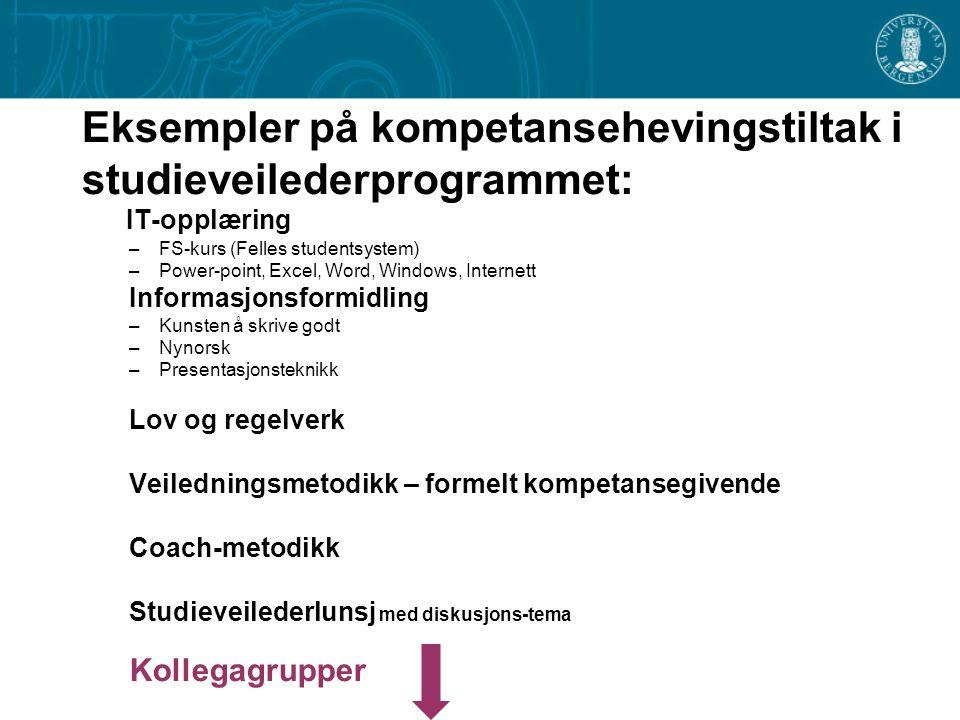 Eksempler på kompetansehevingstiltak i studieveilederprogrammet: IT-opplæring –FS-kurs (Felles studentsystem) –Power-point, Excel, Word, Windows, Inte