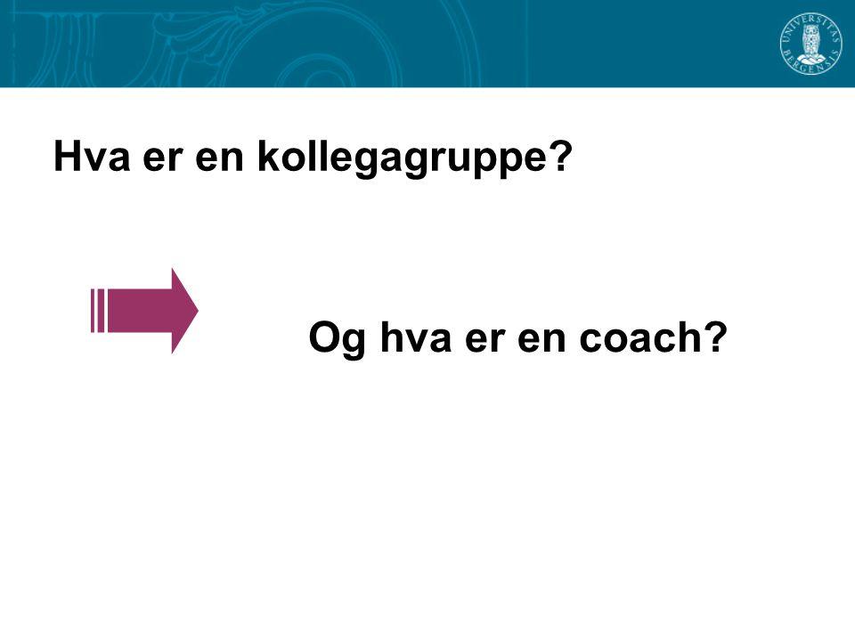 Hva er en kollegagruppe? Og hva er en coach?