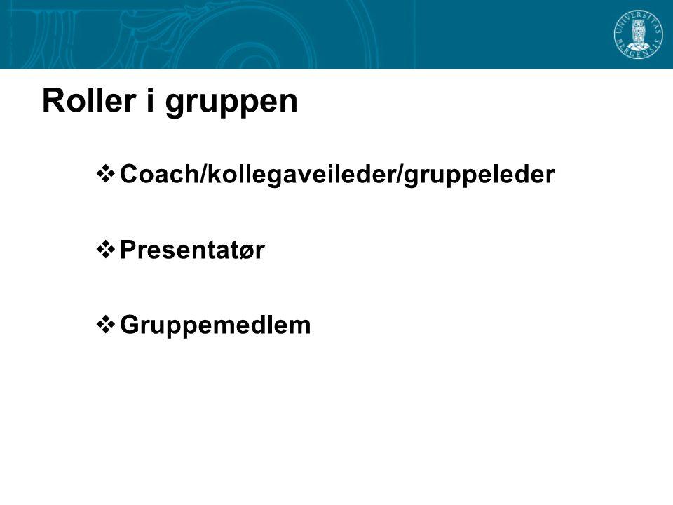 Roller i gruppen  Coach/kollegaveileder/gruppeleder  Presentatør  Gruppemedlem