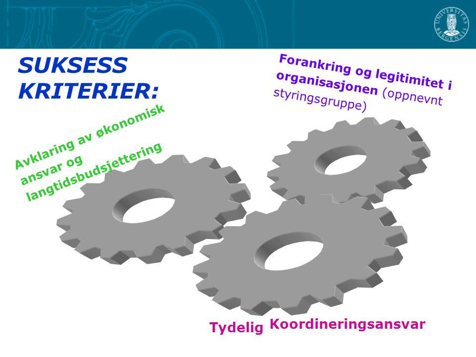 SUKSESS KRITERIER: Avklaring av økonomisk ansvar og langtidsbudsjettering Forankring og legitimitet i organisasjonen (oppnevnt styringsgruppe) Tydelig