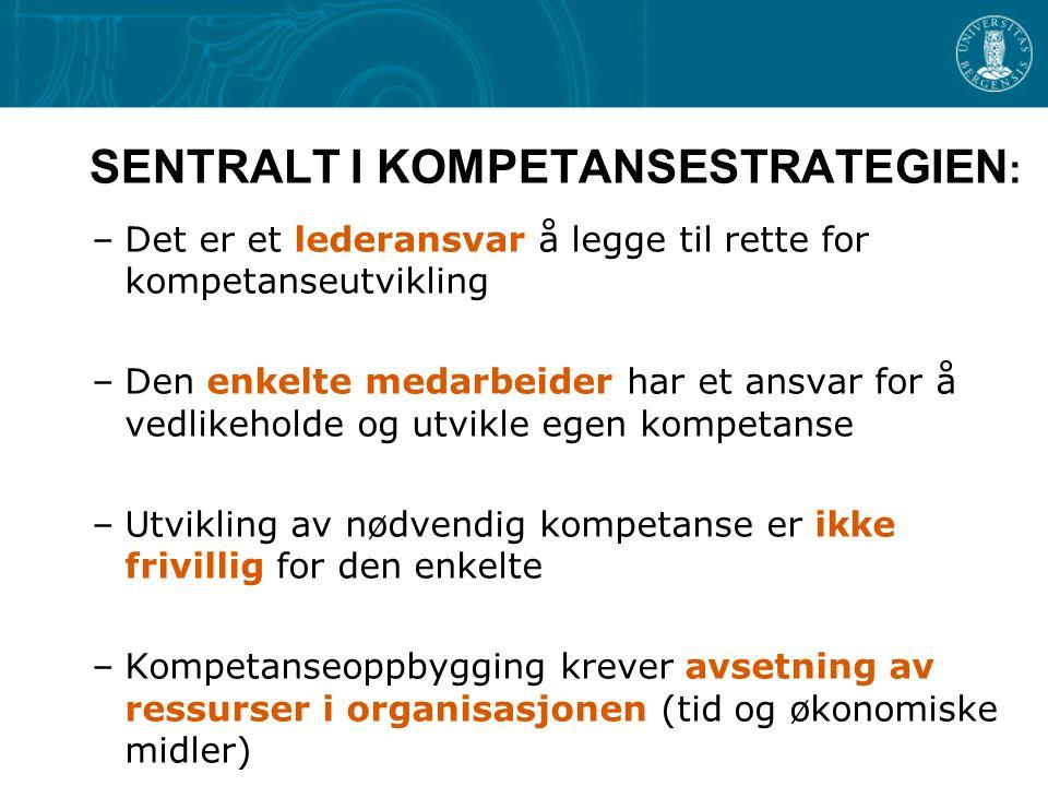 SENTRALT I KOMPETANSESTRATEGIEN : –Det er et lederansvar å legge til rette for kompetanseutvikling –Den enkelte medarbeider har et ansvar for å vedlik