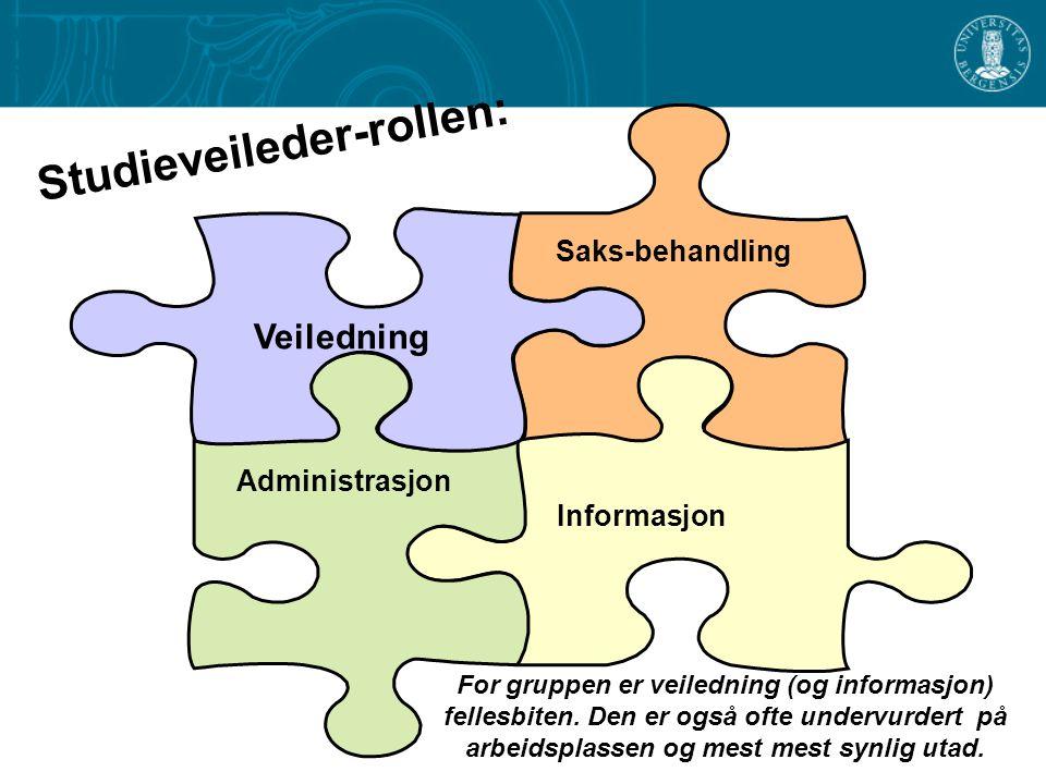 Saks-behandling Informasjon Veiledning Administrasjon Studieveileder-rollen: For gruppen er veiledning (og informasjon) fellesbiten. Den er også ofte