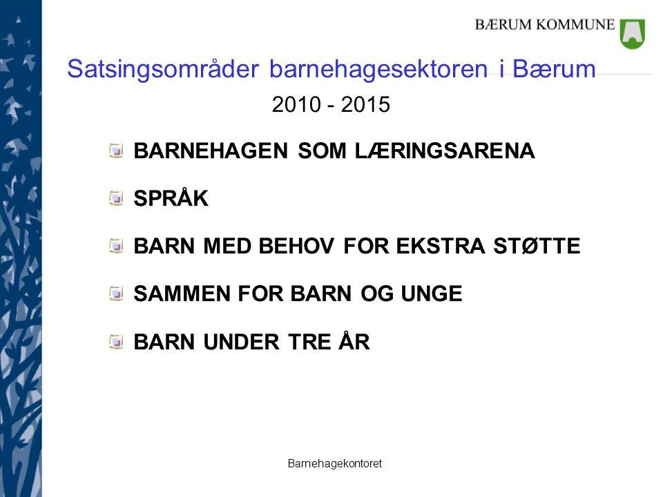 Barnehagekontoret Satsingsområder barnehagesektoren i Bærum 2010 - 2015 BARNEHAGEN SOM LÆRINGSARENA SPRÅK BARN MED BEHOV FOR EKSTRA STØTTE SAMMEN FOR BARN OG UNGE BARN UNDER TRE ÅR