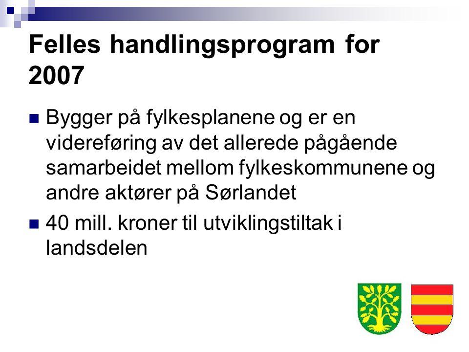 Felles handlingsprogram for 2007 Bygger på fylkesplanene og er en videreføring av det allerede pågående samarbeidet mellom fylkeskommunene og andre ak