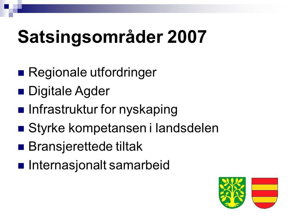 Satsingsområder 2007 Regionale utfordringer Digitale Agder Infrastruktur for nyskaping Styrke kompetansen i landsdelen Bransjerettede tiltak Internasj