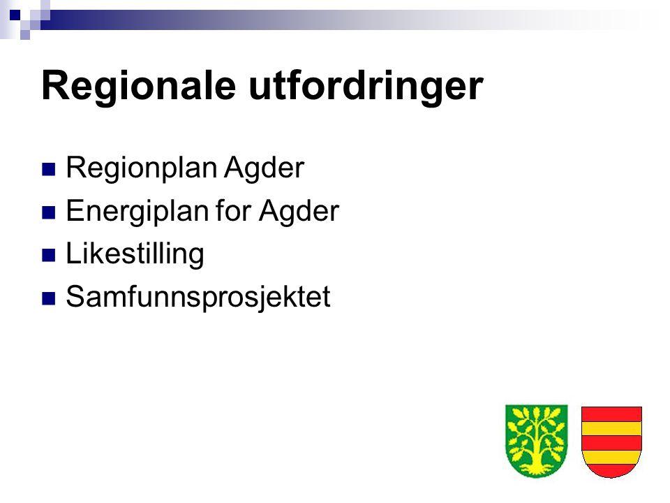 Regionale utfordringer Regionplan Agder Energiplan for Agder Likestilling Samfunnsprosjektet