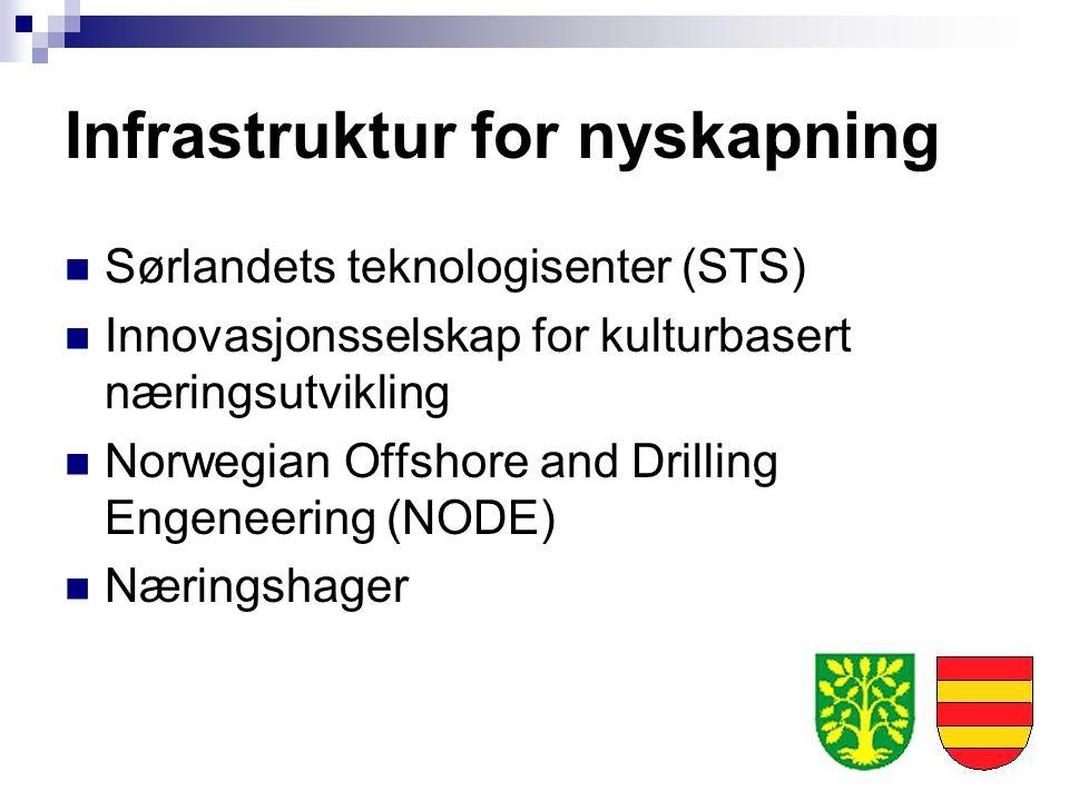 Infrastruktur for nyskapning Sørlandets teknologisenter (STS) Innovasjonsselskap for kulturbasert næringsutvikling Norwegian Offshore and Drilling Eng