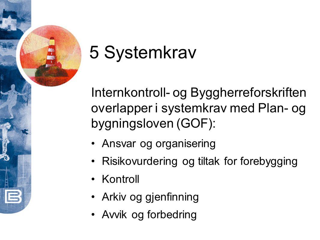 Internkontroll- og Byggherreforskriften overlapper i systemkrav med Plan- og bygningsloven (GOF): Ansvar og organisering Risikovurdering og tiltak for forebygging Kontroll Arkiv og gjenfinning Avvik og forbedring 5 Systemkrav