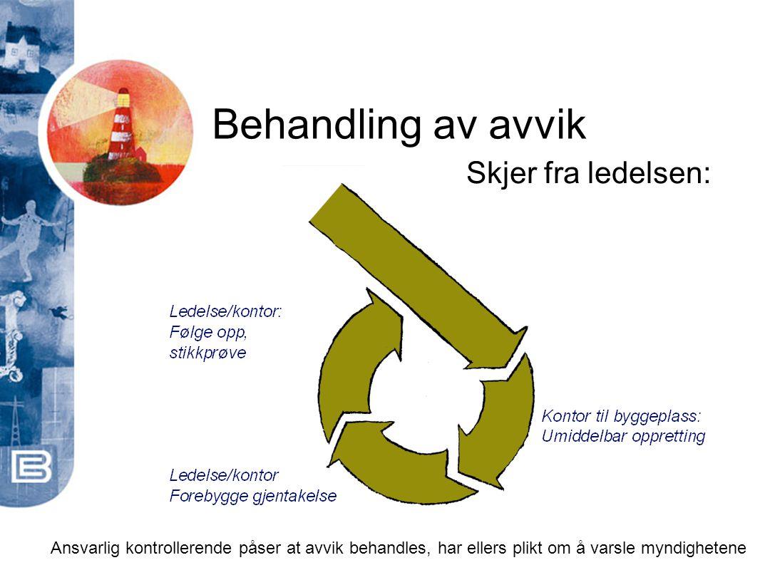 Ansvarlig kontrollerende påser at avvik behandles, har ellers plikt om å varsle myndighetene Behandling av avvik Skjer fra ledelsen: