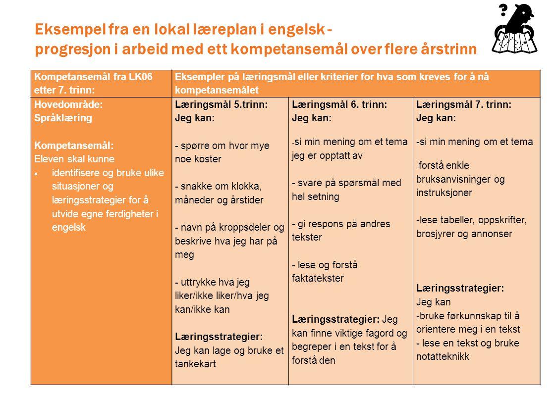 Eksempel fra en lokal læreplan i engelsk - progresjon i arbeid med ett kompetansemål over flere årstrinn Kompetansemål fra LK06 etter 7. trinn: Eksemp