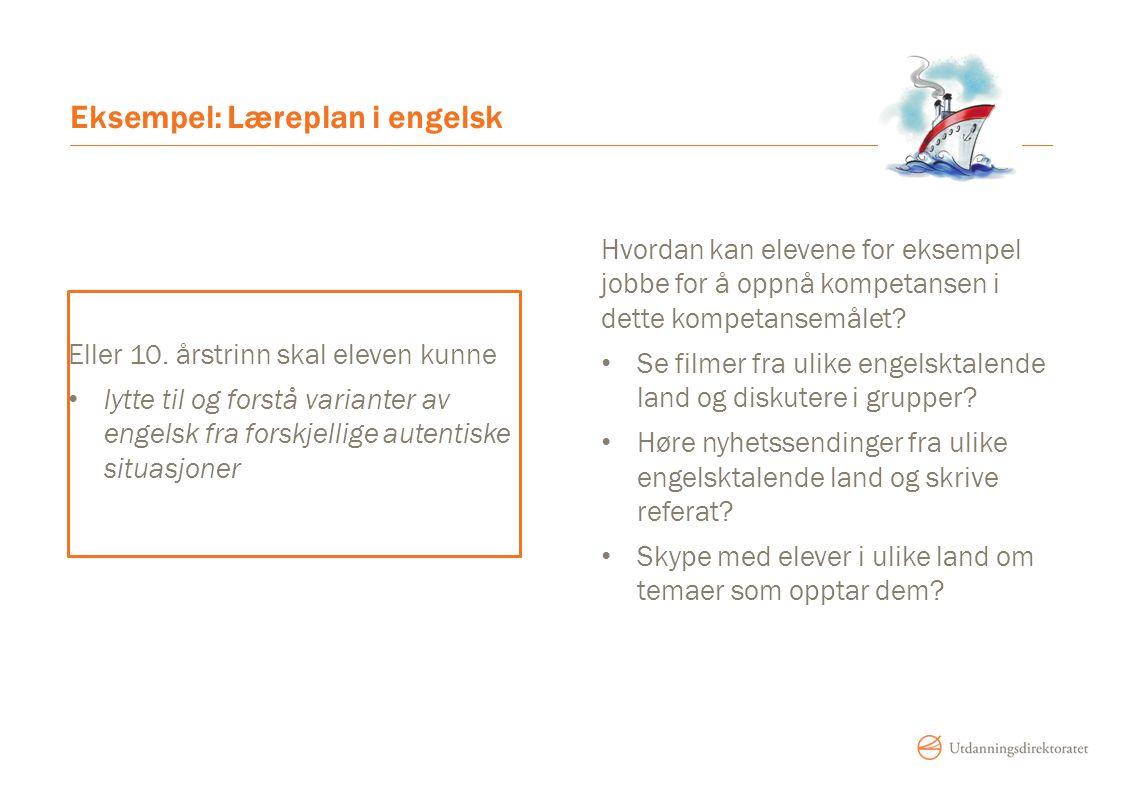 Eksempel: Læreplan i engelsk Eller 10. årstrinn skal eleven kunne lytte til og forstå varianter av engelsk fra forskjellige autentiske situasjoner Hvo