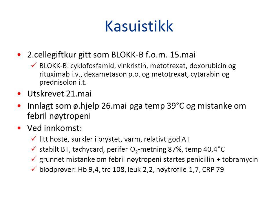 Kasuistikk 2.cellegiftkur gitt som BLOKK-B f.o.m. 15.mai BLOKK-B: cyklofosfamid, vinkristin, metotrexat, doxorubicin og rituximab i.v., dexametason p.