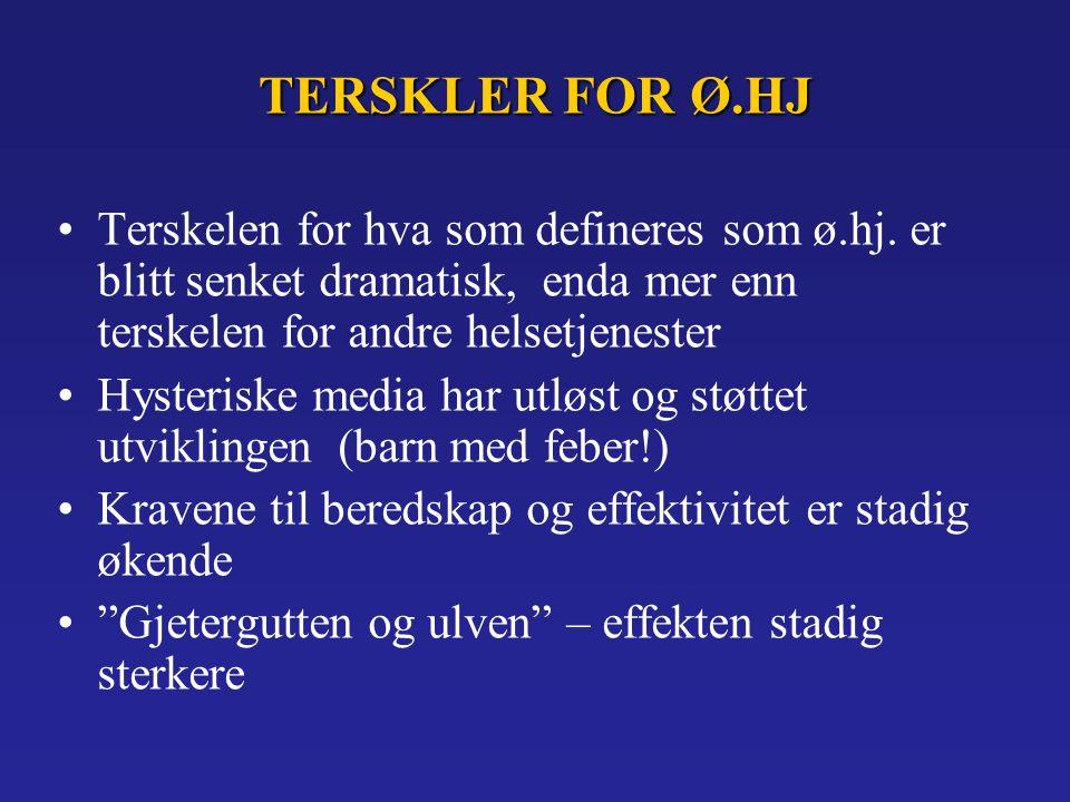 TERSKLER FOR Ø.HJ Terskelen for hva som defineres som ø.hj.