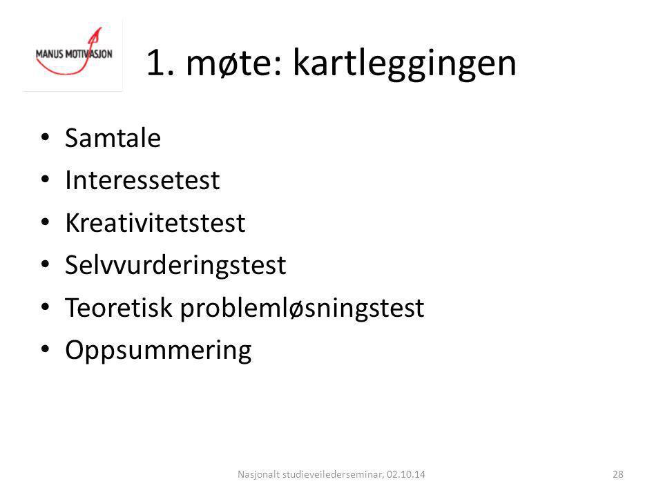 1. møte: kartleggingen Nasjonalt studieveilederseminar, 02.10.1428 Samtale Interessetest Kreativitetstest Selvvurderingstest Teoretisk problemløsnings