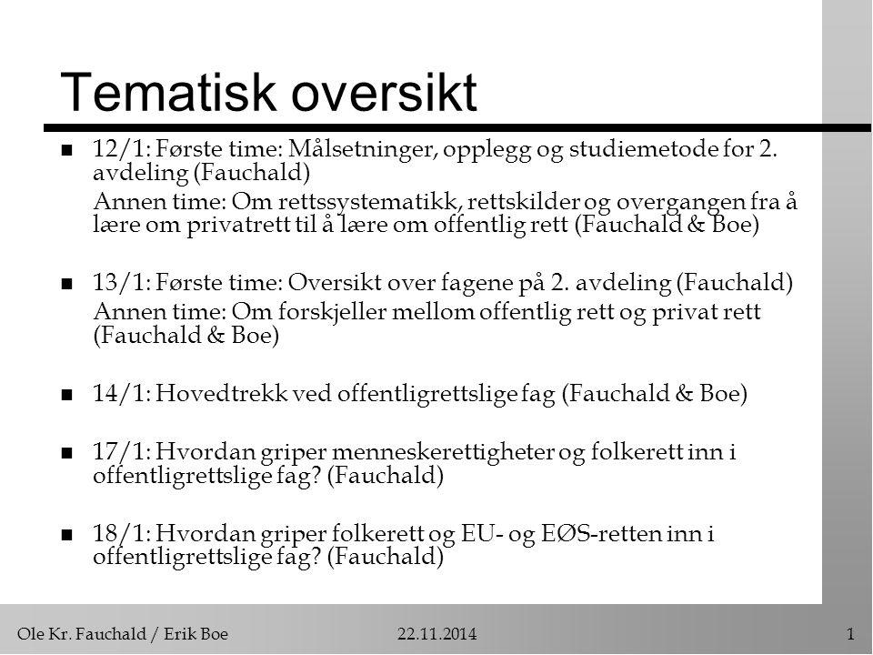 Ole Kr. Fauchald / Erik Boe22.11.20141 Tematisk oversikt n 12/1: Første time: Målsetninger, opplegg og studiemetode for 2. avdeling (Fauchald) Annen t