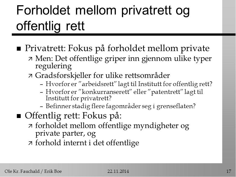 Ole Kr. Fauchald / Erik Boe22.11.201417 Forholdet mellom privatrett og offentlig rett n Privatrett: Fokus på forholdet mellom private ä Men: Det offen