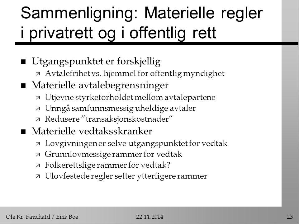 Ole Kr. Fauchald / Erik Boe22.11.201423 Sammenligning: Materielle regler i privatrett og i offentlig rett n Utgangspunktet er forskjellig ä Avtalefrih