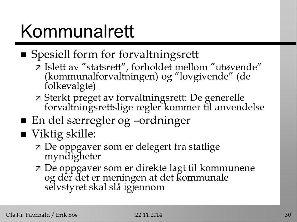 """Ole Kr. Fauchald / Erik Boe22.11.201430 Kommunalrett n Spesiell form for forvaltningsrett ä Islett av """"statsrett"""", forholdet mellom """"utøvende"""" (kommun"""