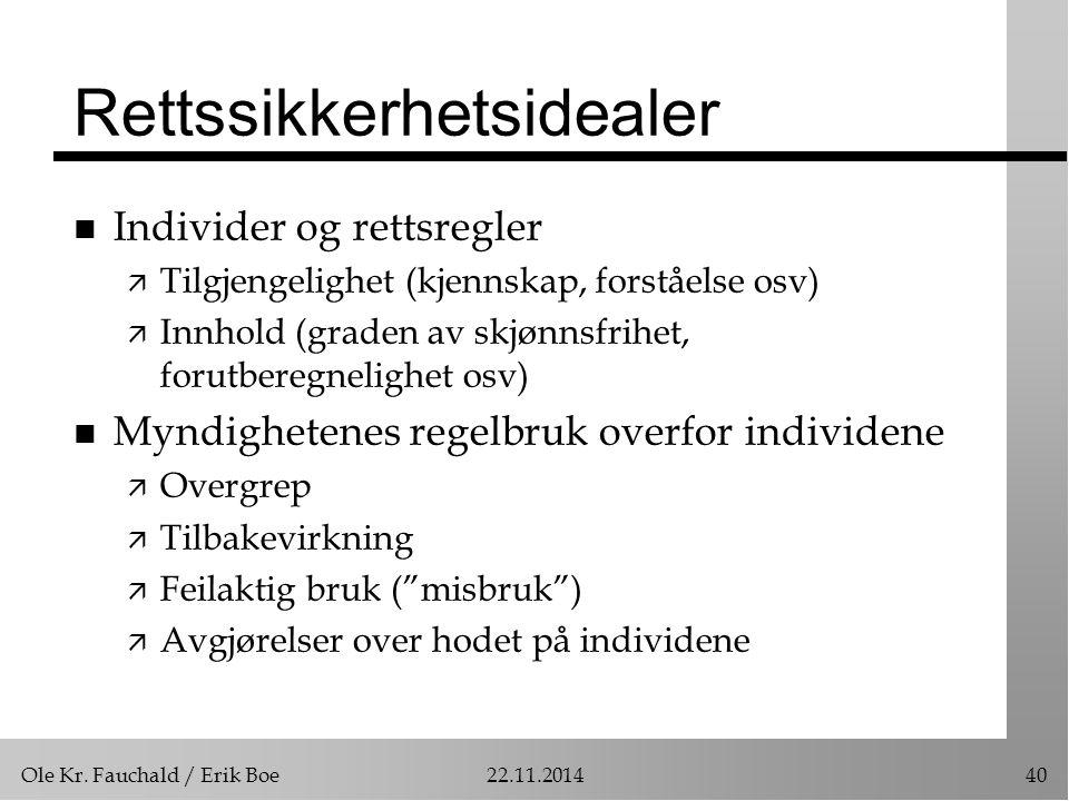Ole Kr. Fauchald / Erik Boe22.11.201440 Rettssikkerhetsidealer n Individer og rettsregler ä Tilgjengelighet (kjennskap, forståelse osv) ä Innhold (gra