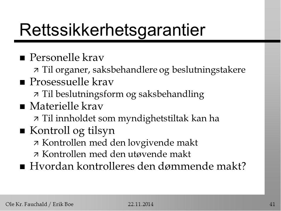 Ole Kr. Fauchald / Erik Boe22.11.201441 Rettssikkerhetsgarantier n Personelle krav ä Til organer, saksbehandlere og beslutningstakere n Prosessuelle k