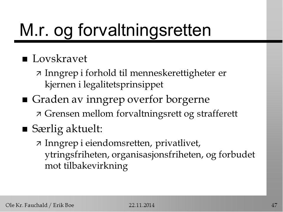 Ole Kr. Fauchald / Erik Boe22.11.201447 M.r. og forvaltningsretten n Lovskravet ä Inngrep i forhold til menneskerettigheter er kjernen i legalitetspri