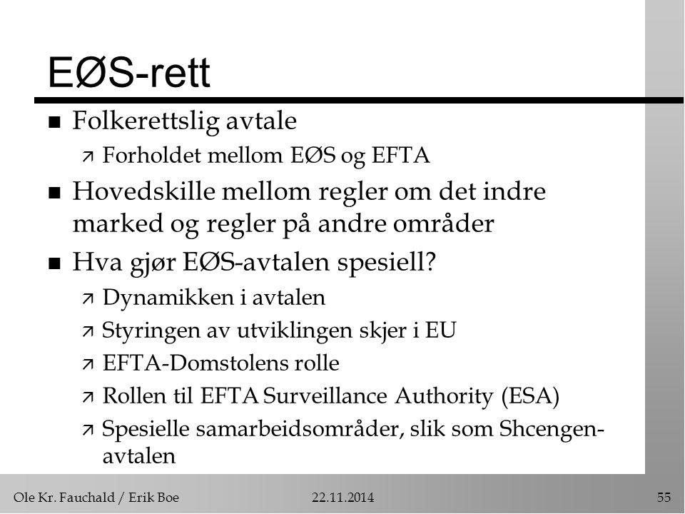 Ole Kr. Fauchald / Erik Boe22.11.201455 EØS-rett n Folkerettslig avtale ä Forholdet mellom EØS og EFTA n Hovedskille mellom regler om det indre marked