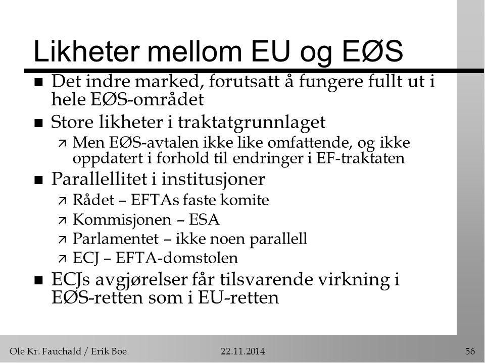 Ole Kr. Fauchald / Erik Boe22.11.201456 Likheter mellom EU og EØS n Det indre marked, forutsatt å fungere fullt ut i hele EØS-området n Store likheter
