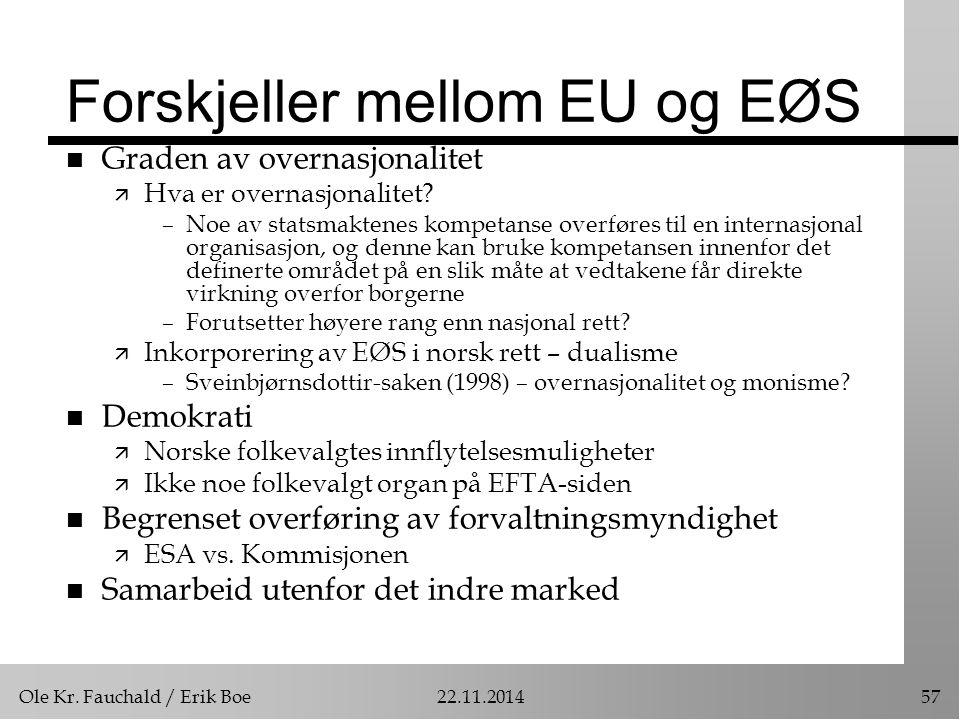Ole Kr. Fauchald / Erik Boe22.11.201457 Forskjeller mellom EU og EØS n Graden av overnasjonalitet ä Hva er overnasjonalitet? –Noe av statsmaktenes kom
