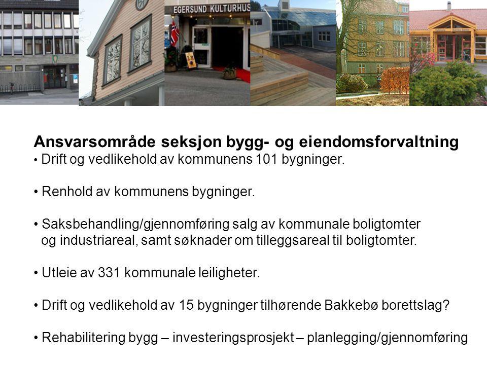 Ansvarsområde seksjon bygg- og eiendomsforvaltning Drift og vedlikehold av kommunens 101 bygninger. Renhold av kommunens bygninger. Saksbehandling/gje