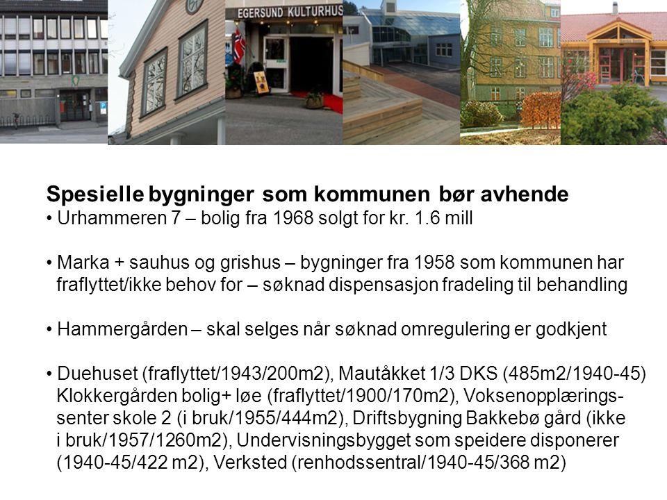 Spesielle bygninger som kommunen bør avhende Urhammeren 7 – bolig fra 1968 solgt for kr. 1.6 mill Marka + sauhus og grishus – bygninger fra 1958 som k