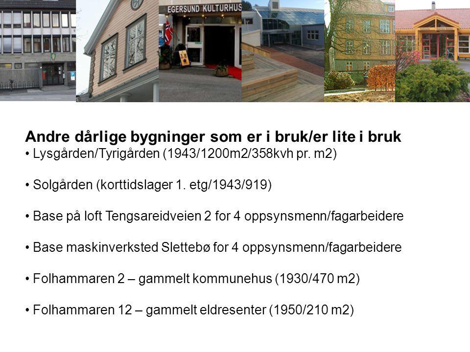 Andre dårlige bygninger som er i bruk/er lite i bruk Lysgården/Tyrigården (1943/1200m2/358kvh pr. m2) Solgården (korttidslager 1. etg/1943/919) Base p