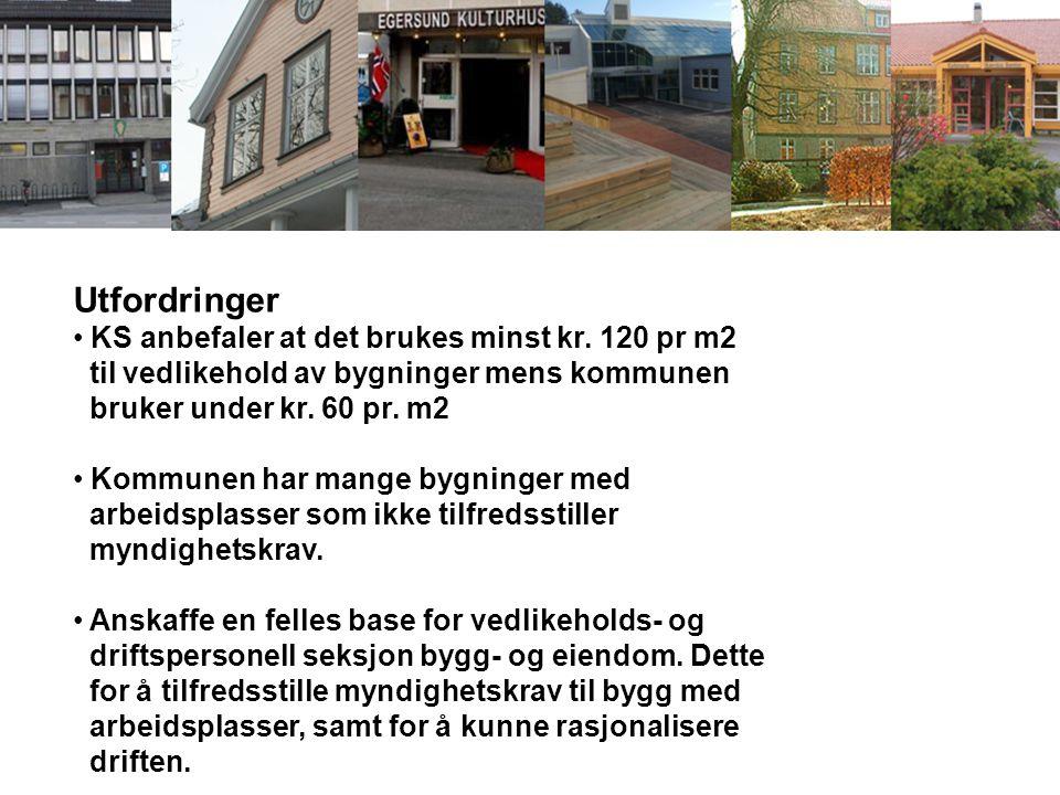 Utfordringer KS anbefaler at det brukes minst kr. 120 pr m2 til vedlikehold av bygninger mens kommunen bruker under kr. 60 pr. m2 Kommunen har mange b