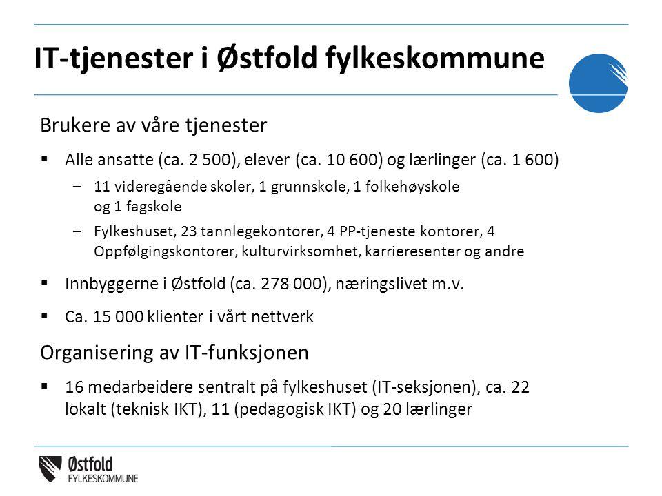 IT-tjenester i Østfold fylkeskommune Brukere av våre tjenester  Alle ansatte (ca.