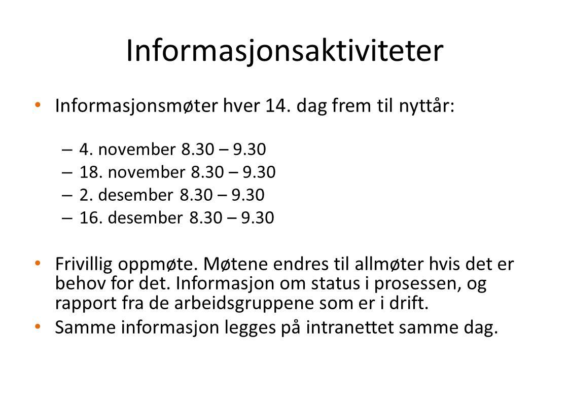 Informasjonsaktiviteter Informasjonsmøter hver 14. dag frem til nyttår: – 4. november 8.30 – 9.30 – 18. november 8.30 – 9.30 – 2. desember 8.30 – 9.30