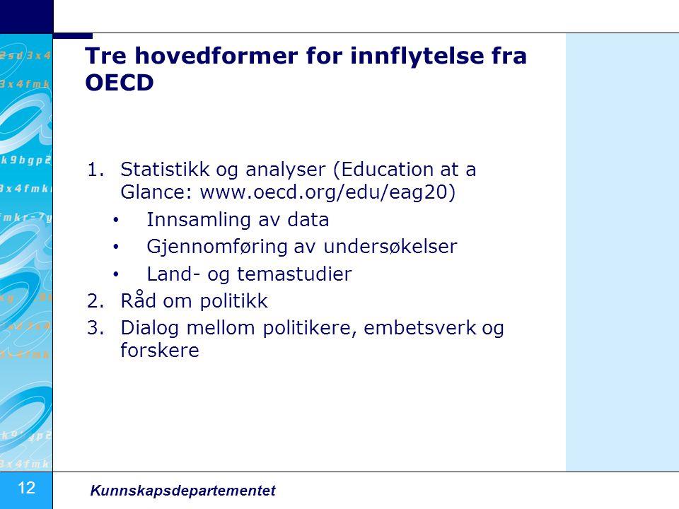12 Kunnskapsdepartementet Tre hovedformer for innflytelse fra OECD 1.Statistikk og analyser (Education at a Glance: www.oecd.org/edu/eag20) Innsamling av data Gjennomføring av undersøkelser Land- og temastudier 2.Råd om politikk 3.Dialog mellom politikere, embetsverk og forskere