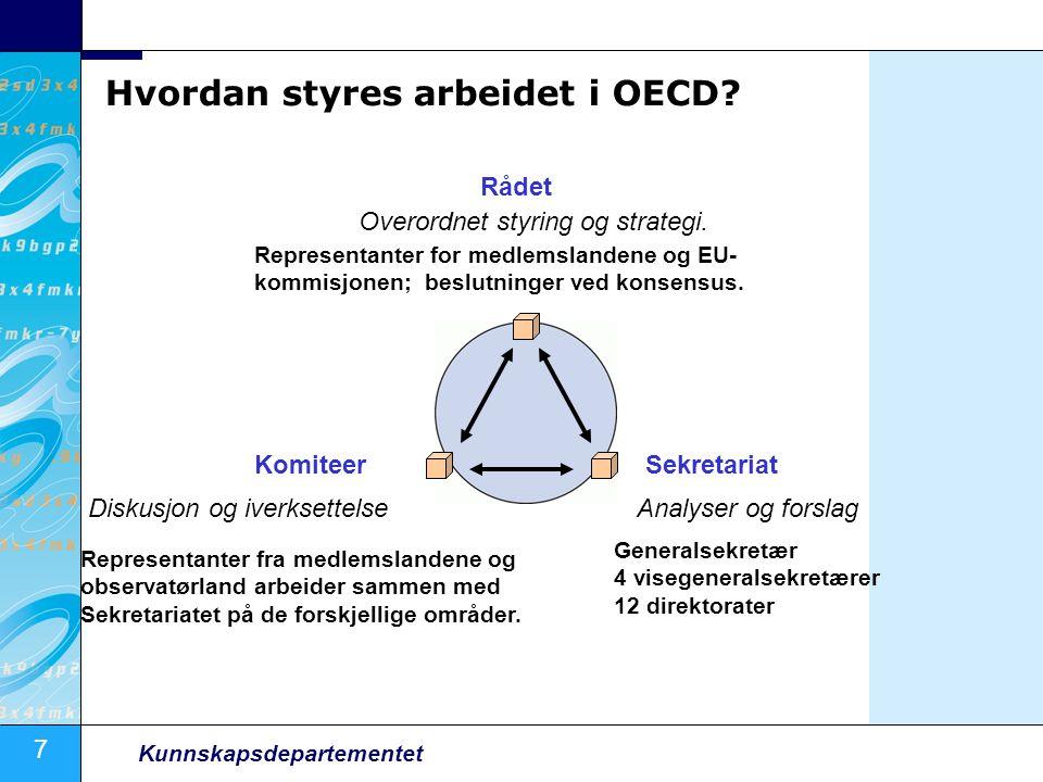 7 Kunnskapsdepartementet Hvordan styres arbeidet i OECD.