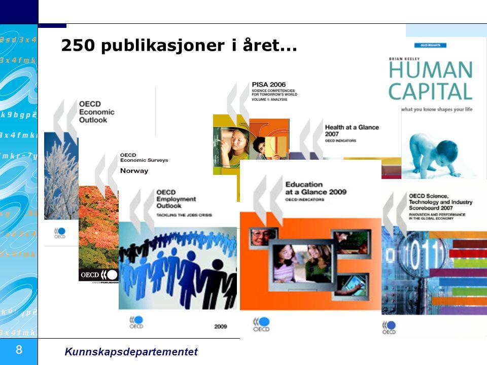 8 Kunnskapsdepartementet 250 publikasjoner i året...