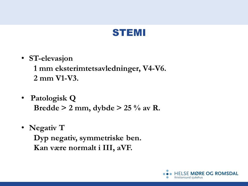 ST-elevasjon 1 mm eksterimtetsavledninger, V4-V6. 2 mm V1-V3. Patologisk Q Bredde > 2 mm, dybde > 25 % av R. Negativ T Dyp negativ, symmetriske ben. K