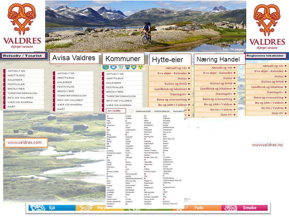 www.valdres.no www.valdres.com Avisa Valdres Hytte-eier Kommuner Næring Handel