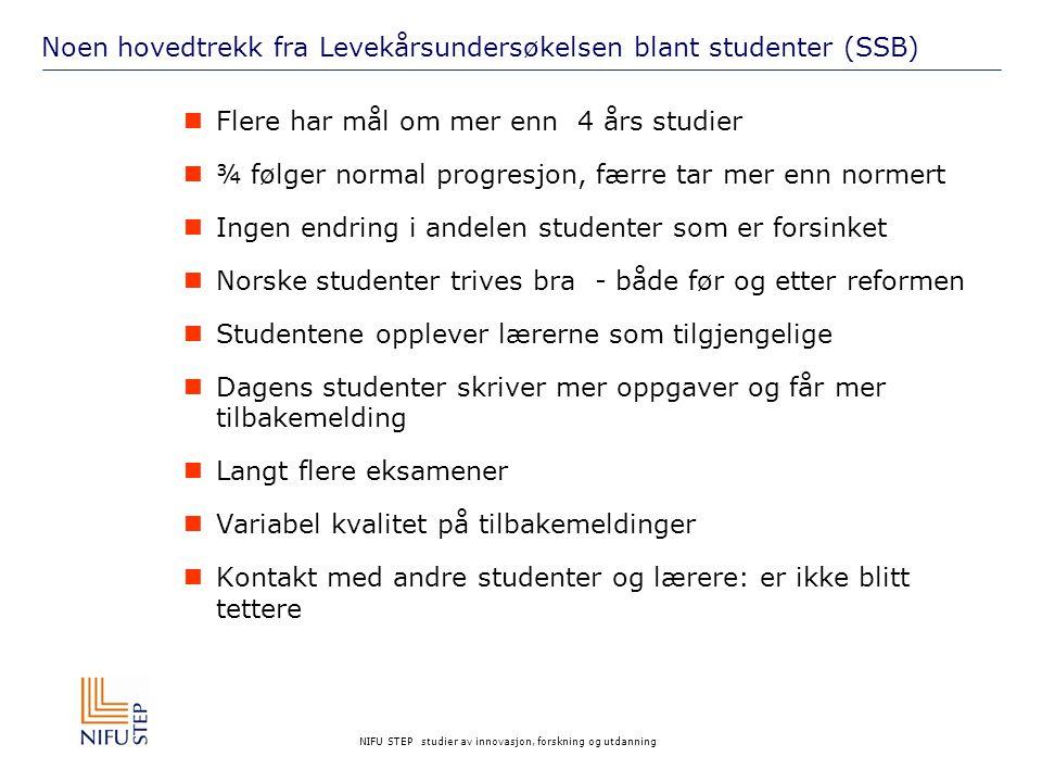 NIFU STEP studier av innovasjon, forskning og utdanning Hva med studentenes måte å studere på.