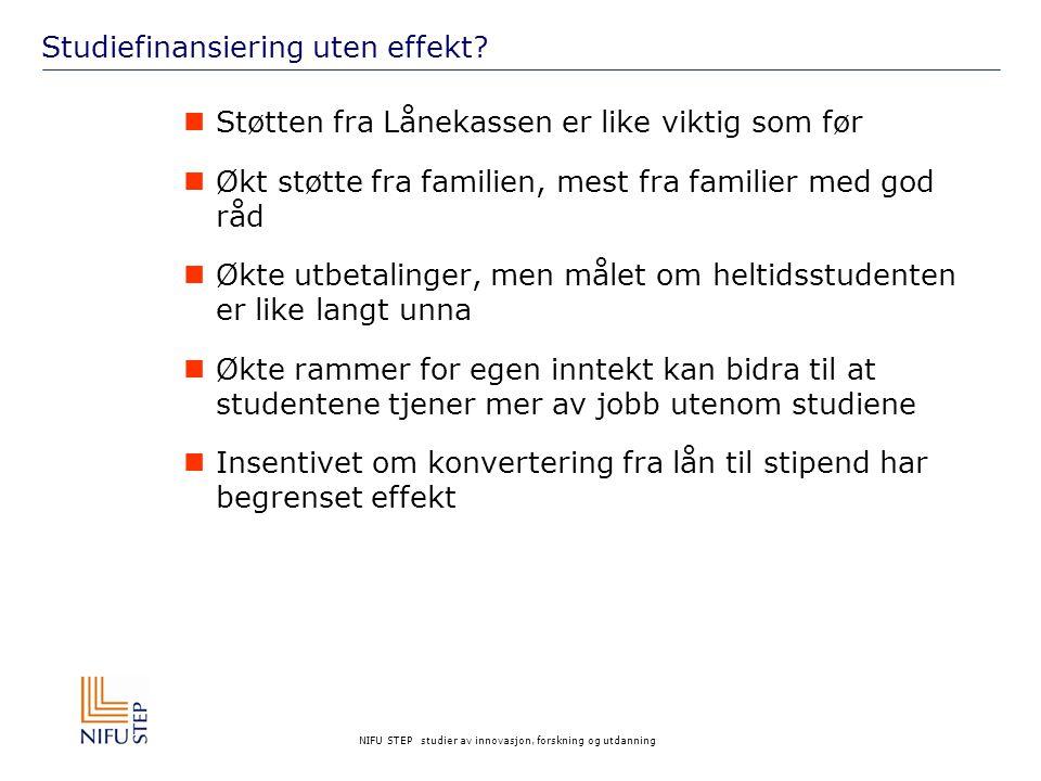 NIFU STEP studier av innovasjon, forskning og utdanning Studiefinansiering uten effekt.