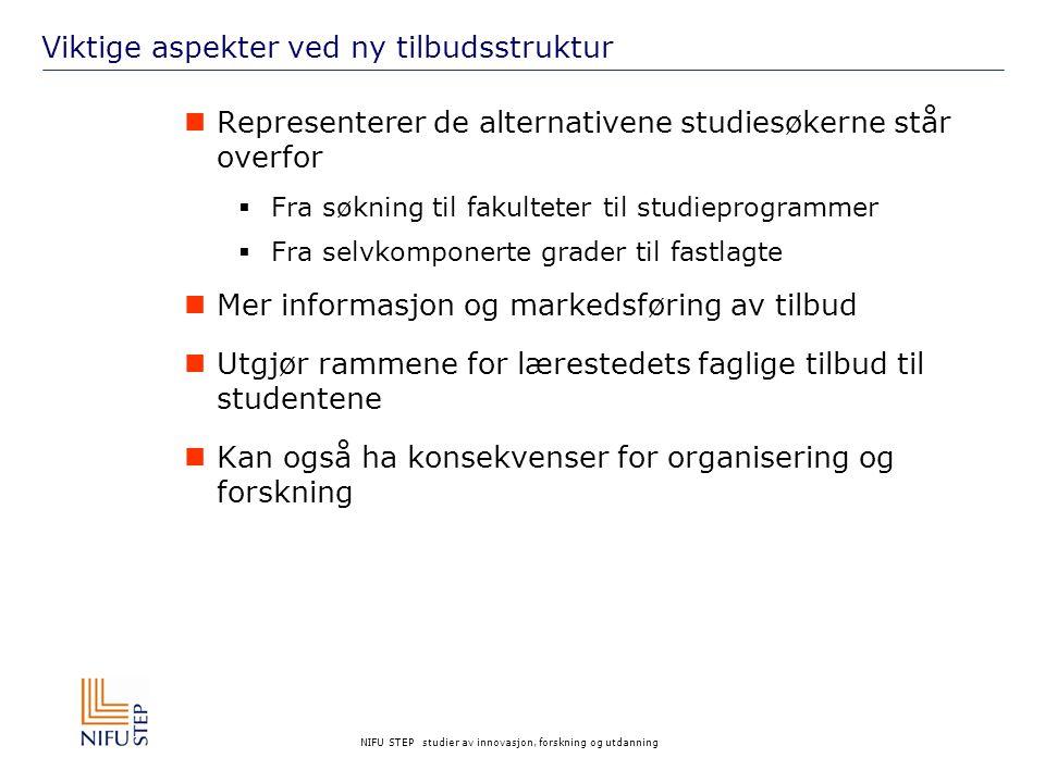 NIFU STEP studier av innovasjon, forskning og utdanning Søkernes respons Tilbudene framstår som klarere og bedre beskrevet Men hva med linken til arbeidsmarkedet.