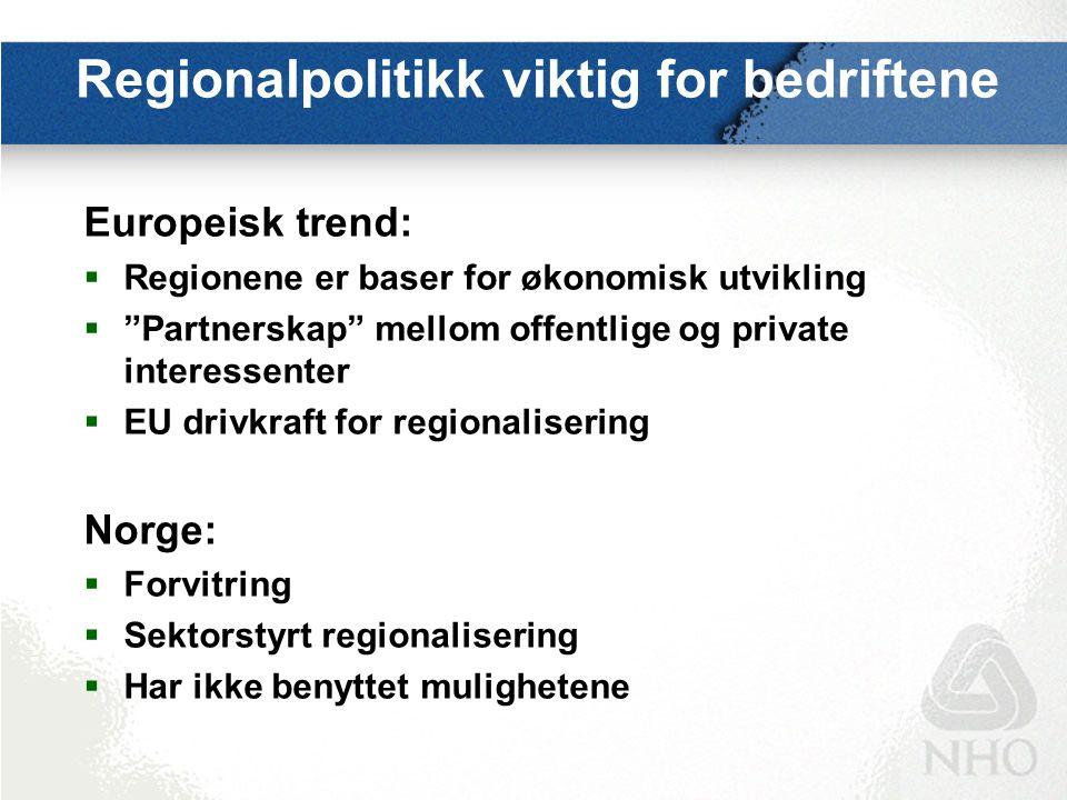 """Regionalpolitikk viktig for bedriftene Europeisk trend:  Regionene er baser for økonomisk utvikling  """"Partnerskap"""" mellom offentlige og private inte"""