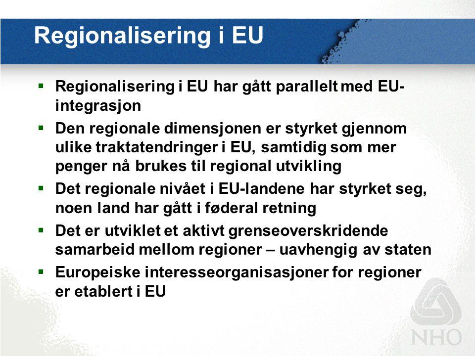 Regionalisering i EU  Regionalisering i EU har gått parallelt med EU- integrasjon  Den regionale dimensjonen er styrket gjennom ulike traktatendring