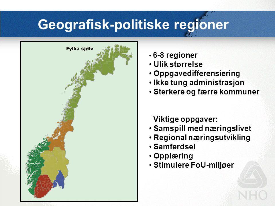 Geografisk-politiske regioner 6-8 regioner Ulik størrelse Oppgavedifferensiering Ikke tung administrasjon Sterkere og færre kommuner Viktige oppgaver: