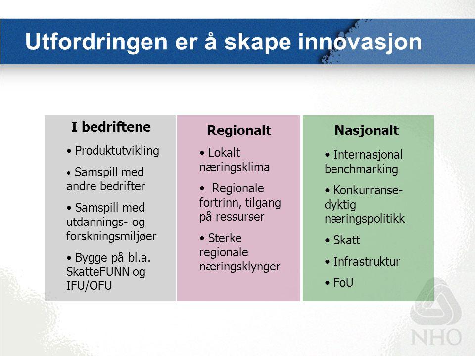Utfordringen er å skape innovasjon Regionalt I bedriftene Nasjonalt Produktutvikling Samspill med andre bedrifter Samspill med utdannings- og forsknin