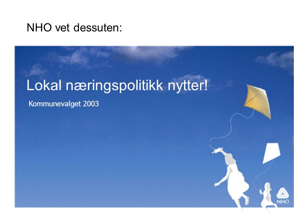 Lokal næringspolitikk nytter! Kommunevalget 2003 NHO vet dessuten: