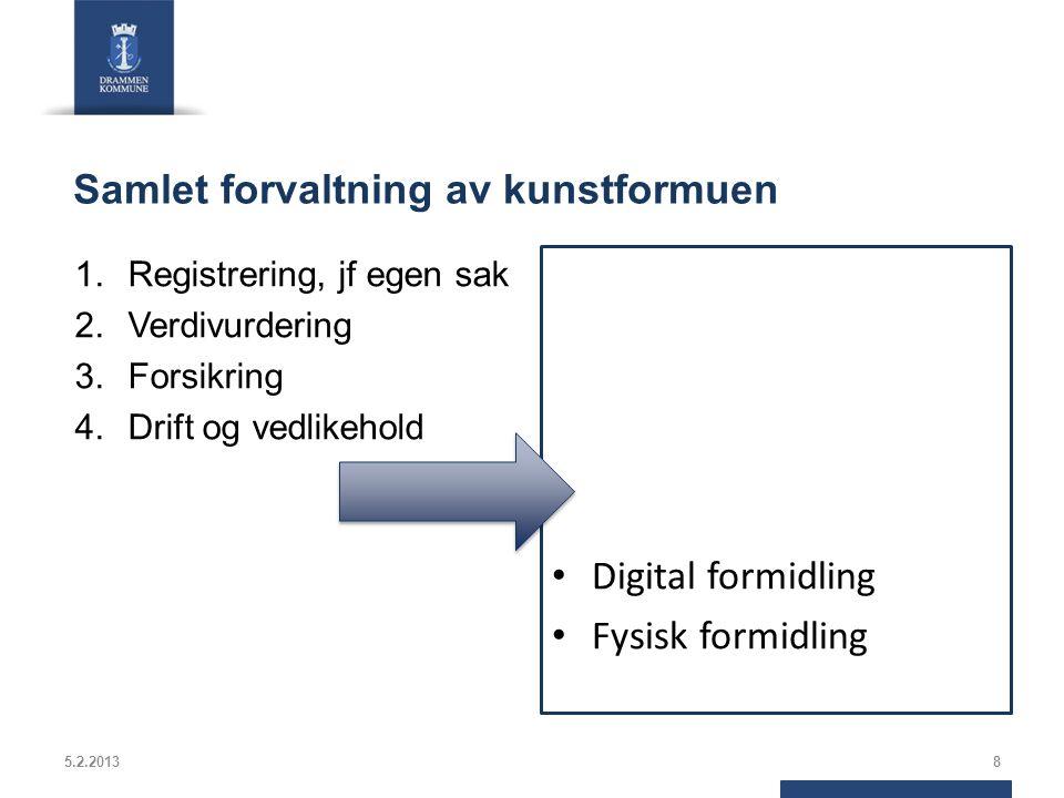 Samlet forvaltning av kunstformuen 1.Registrering, jf egen sak 2.Verdivurdering 3.Forsikring 4.Drift og vedlikehold Digital formidling Fysisk formidling 5.2.20138