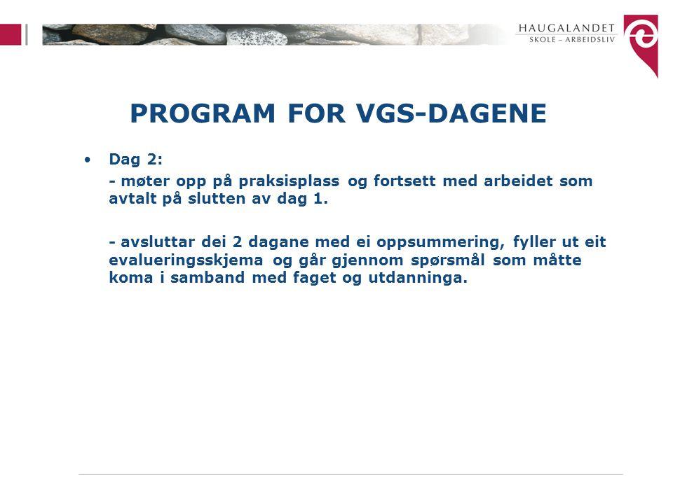 PROGRAM FOR VGS-DAGENE Dag 2: - møter opp på praksisplass og fortsett med arbeidet som avtalt på slutten av dag 1.