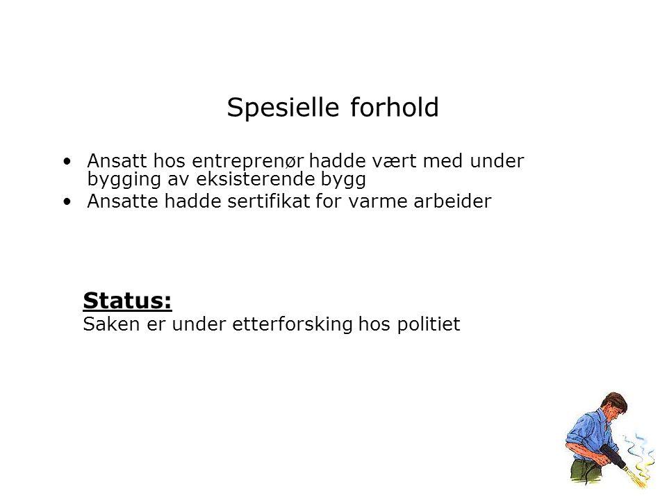 Spesielle forhold Ansatt hos entreprenør hadde vært med under bygging av eksisterende bygg Ansatte hadde sertifikat for varme arbeider Status: Saken er under etterforsking hos politiet